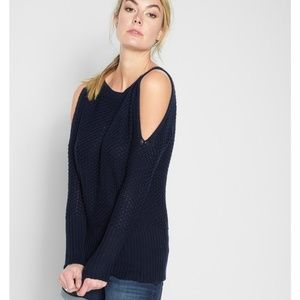 7 for All Mankind Navy Cold Shoulder Knit Sweater